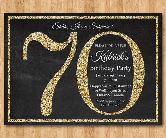 70th birthday invitation gold glitter