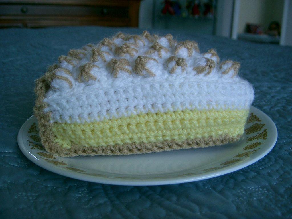 Free Pattern Crochet Lemon Meringue Pie Slice Crochet