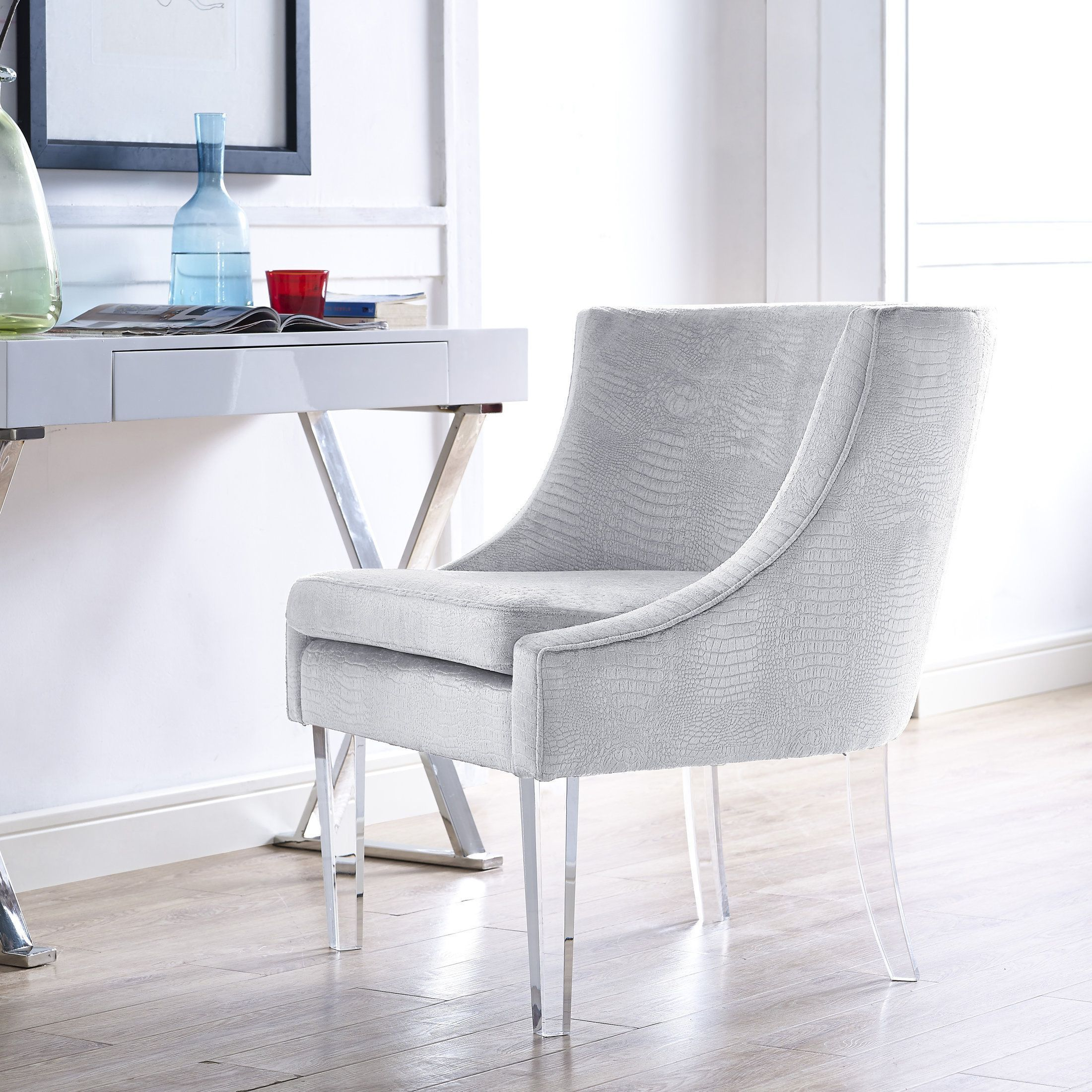 Enjoy The Sumptuous Soft Velvet Upholstery And Tall Lucite Legs Of This  Subtle And Stunning Myra Silver Croc Chair. Classy Yet Stylish, The Myra  Chair Is ...