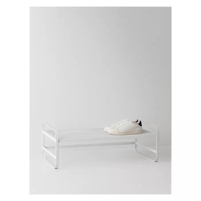 Single Tier Metal Shoe Rack White