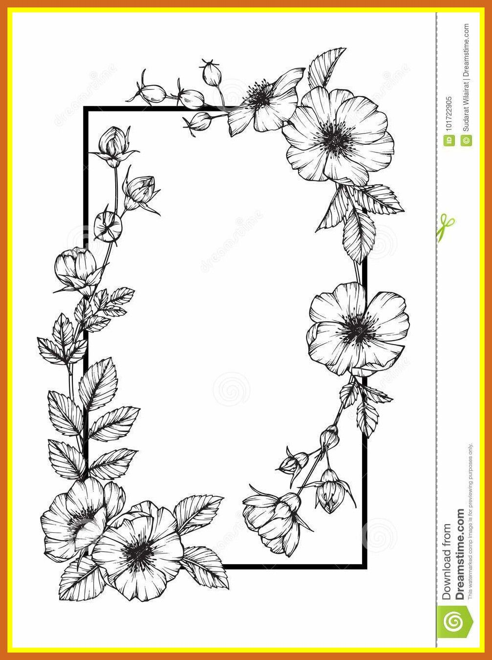 Flower Frame Sketch Flower Sketch Images Wildflower Drawing Flower Drawing