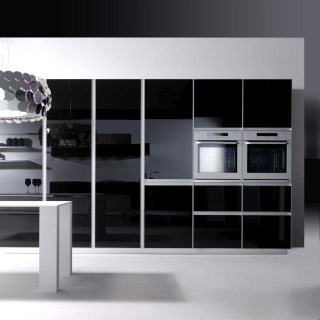 modernes küchendesign hochglanz schwarz grifflos | firmenküche, Kuchen