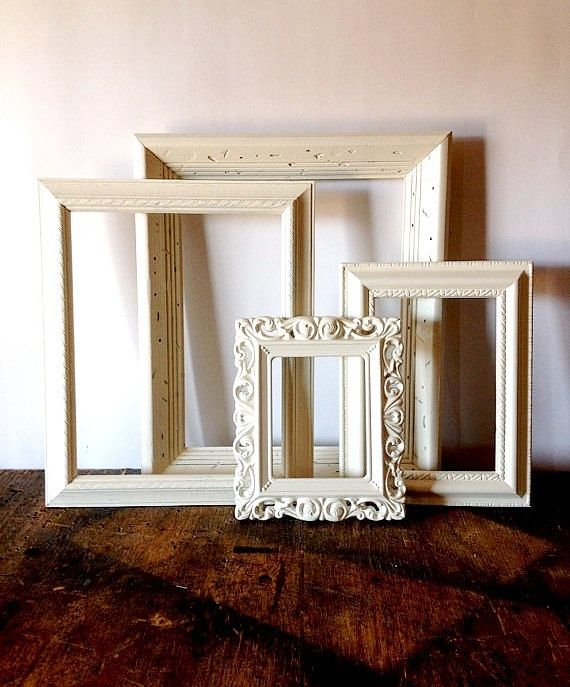 Empty Picture Frame Set Of 4 Cottage Chic White Wall Decor   Picture ...
