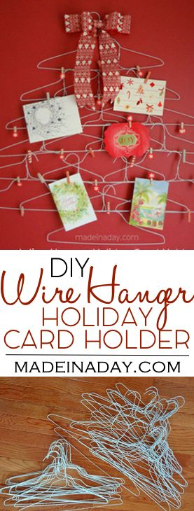 Quirky Wire Hanger Holiday Card Holder Crafts - Wire, Wire Hangers