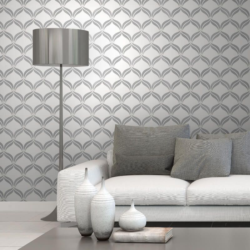 Fine Decor Geometric Grey/Silver Glitter Wallpaper   FD41705