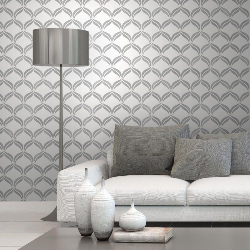Fine Decor Geometric Grey Silver Glitter Wallpaper