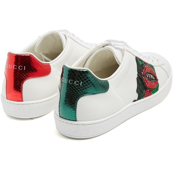 745fb7857fb Gucci New Ace lips-embellished leather trainers ( 870) ❤ liked on Polyvore  featuring shoes