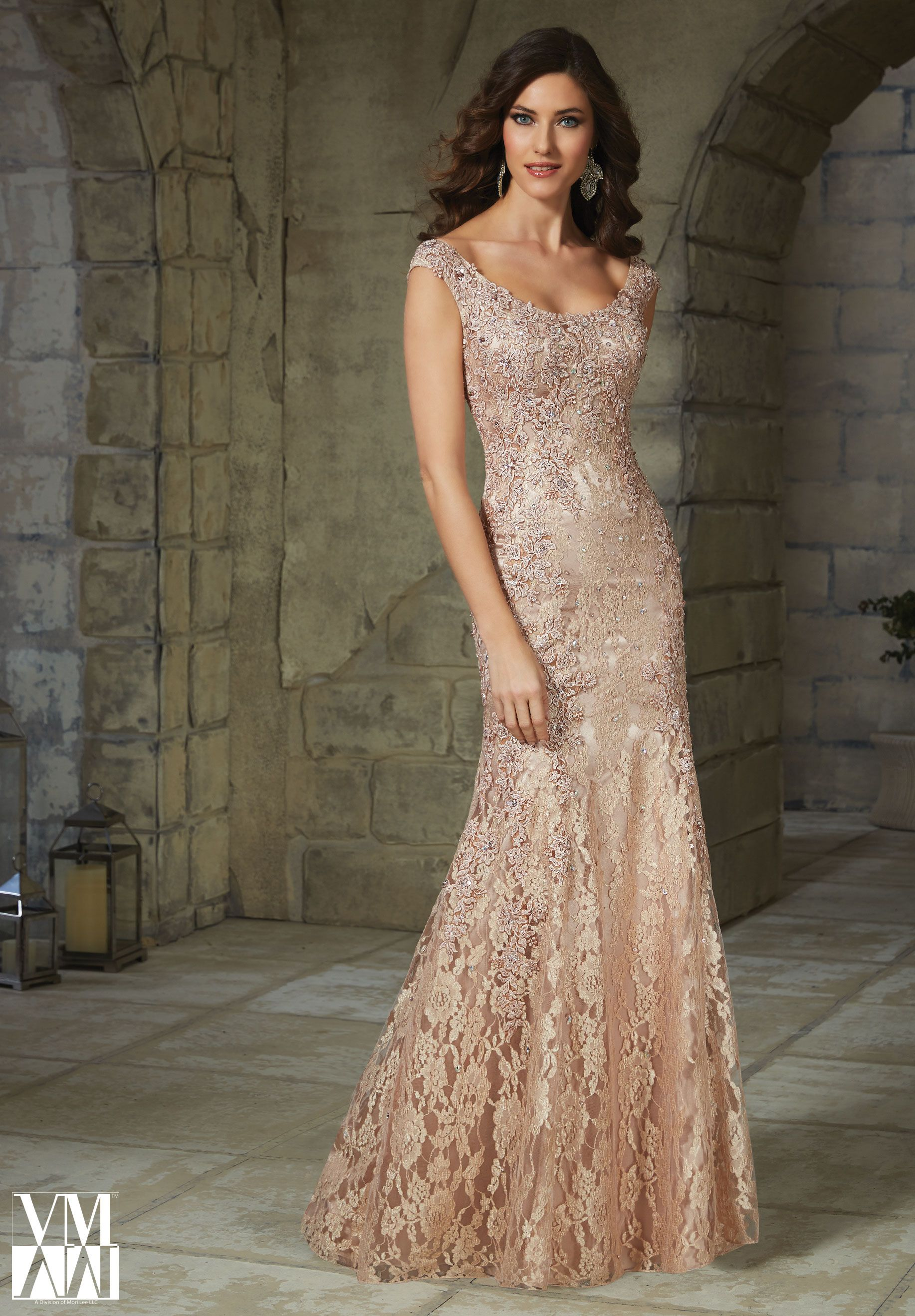 Evening Gown 71215 Beaded Appliques on Lace