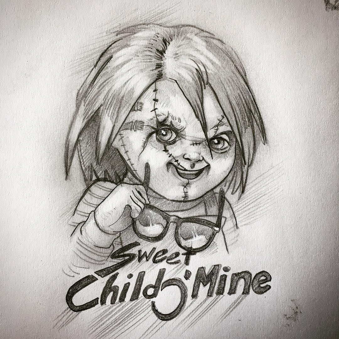 Sweet Child O Mine New Sketch Idea For A Full Color Crazy 80 S Piece Whatcha Think Chucky Horror Childsp Childs Play Chucky Sweet Child O Mine Sketches