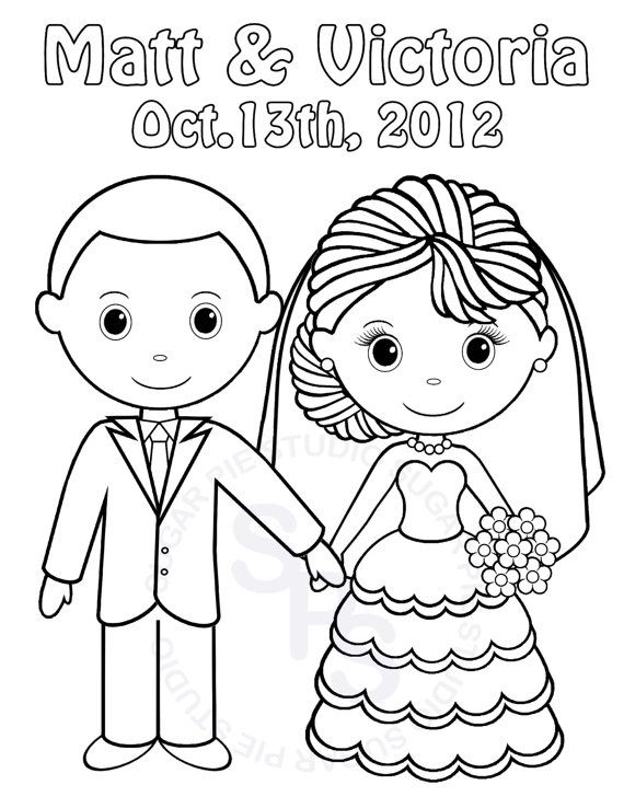 bride and groom coloring pages # 4
