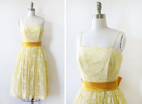 1950s yellow lace dress / vintage 50s floral lace dress / yellow and satin bow party dress