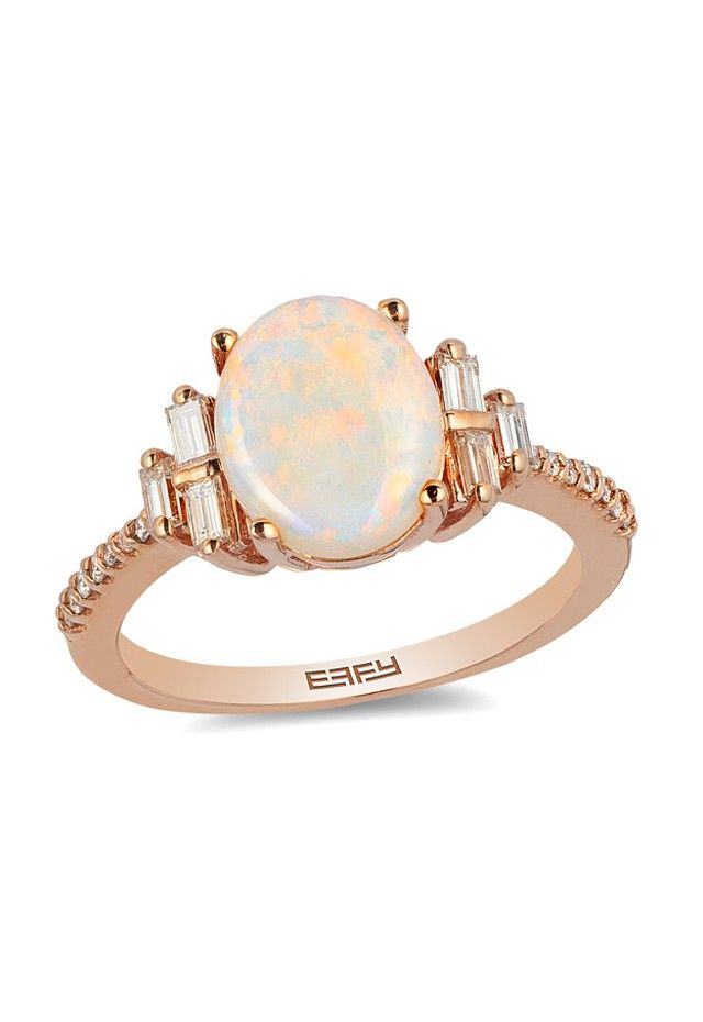 14K Rose Gold Opal and Diamond Ring 178 TCW 1895 mode bijoux