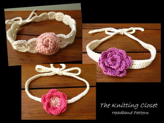 ♥ Crochet Baby Headband Pattern - Sweet flowers that are easy to ...