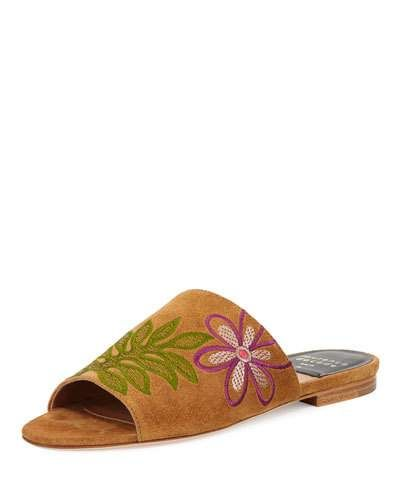 X3KRX Laurence Dacade Nice Embroidered Flat Suede Slide Sandal, Camel