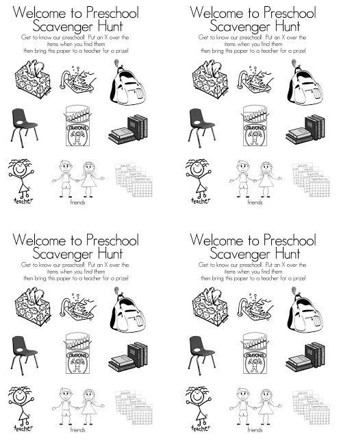 Preschool Open House FREE Printable Scavenger Hunt