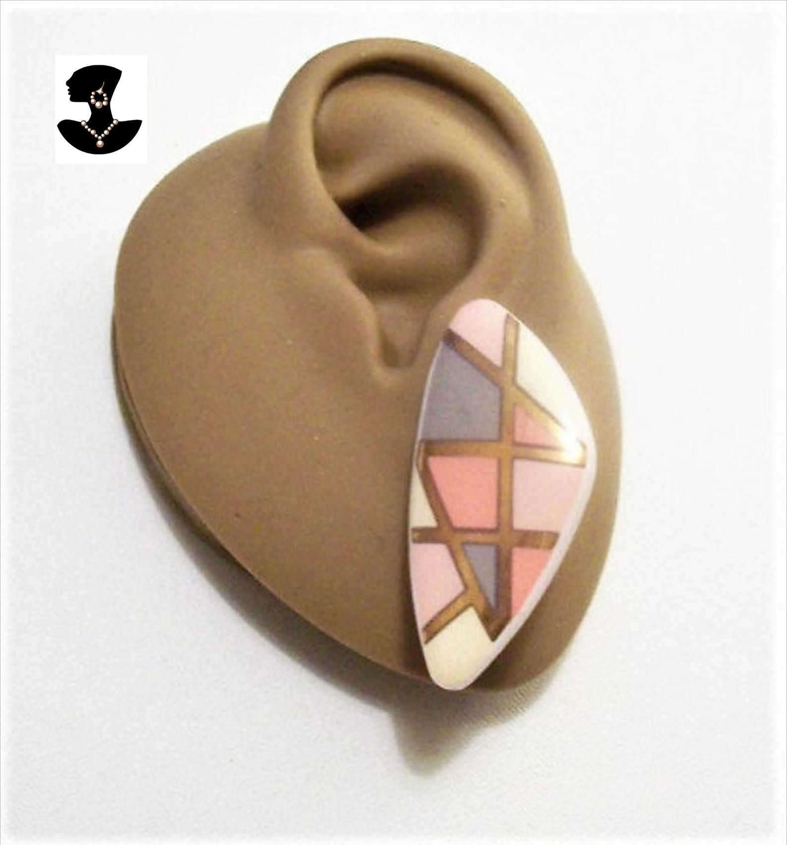 Vintage Brown Triangle Clip On Earrings