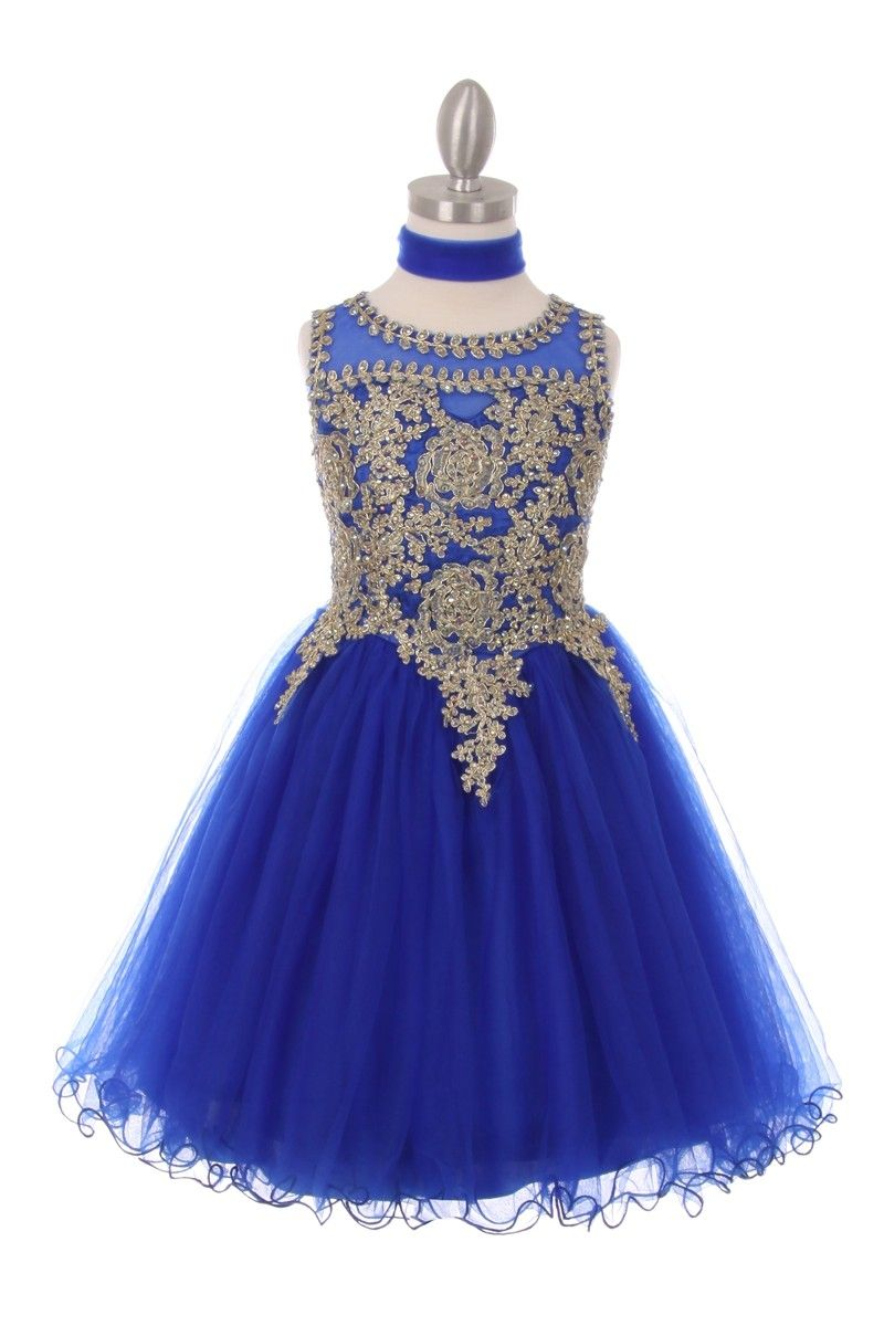 Emelia royal blue gold trimmed party dress in 2020