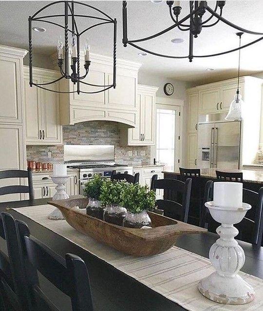 Farmhouse Kitchen Fall Decorating Ideas: Dough Bowl As Table Centerpiece