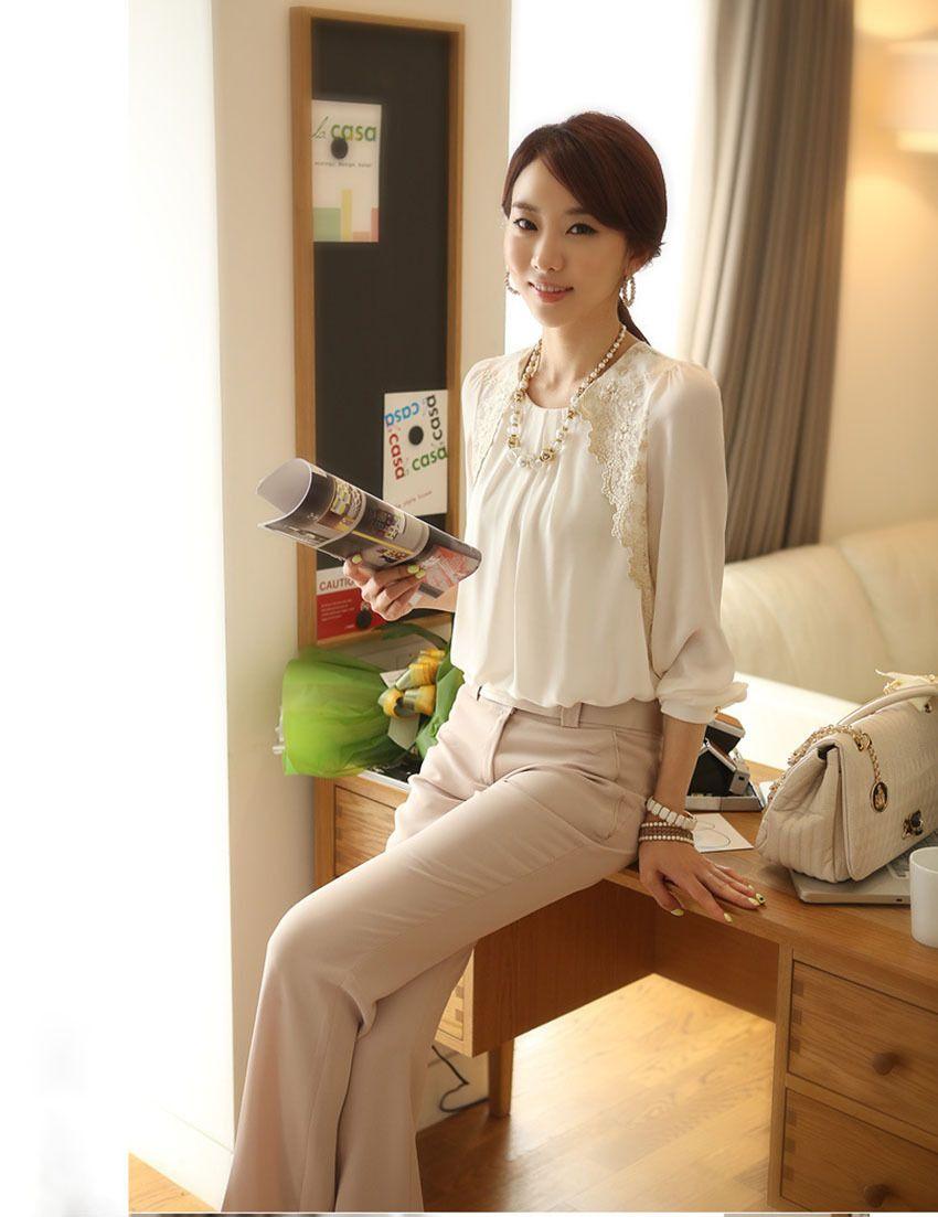 Oficina de 2014 mujeres de la señora de la manera del cordón blanco elegante bordado blusa de gasa de manga larga Tops ¡Envío libre E1422-30