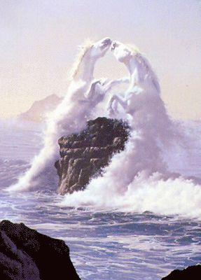 Amazing! Looks like the horses are the sea foam.
