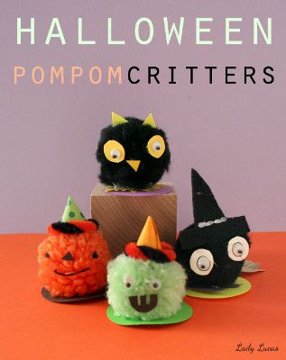 make halloween pom pom critters as halloween crafts for kids fun - Halloween Pom Poms