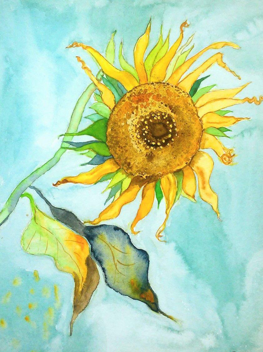 Sonnenblume Malerei Aquarell Sonnenblumen