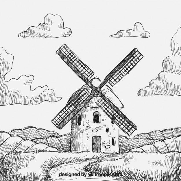 Molino de viento dibujado a mano Vector Gratis | Dibujando y ...
