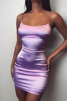 Fashion Tight Purple Sling Sleeveless Dress (purpl