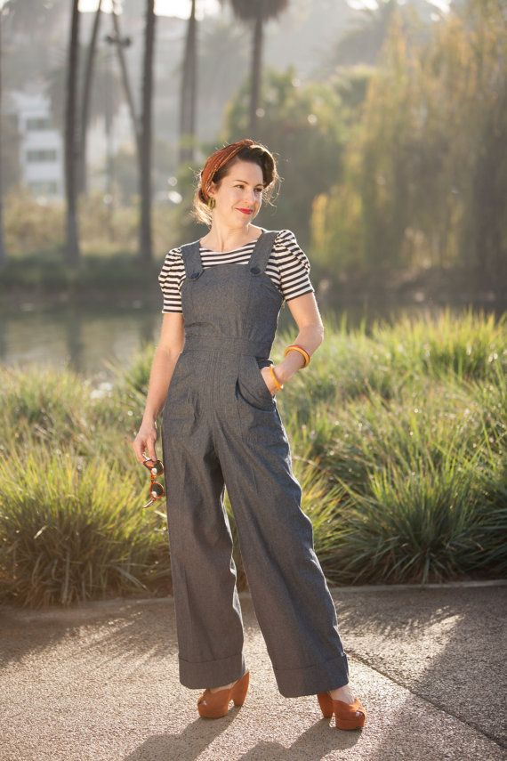Darling 1940s Vintage Style Rosie Overalls L Or Xl Only Indigo Etsy In 2020 1940s Fashion Vintage Fashion Fashion