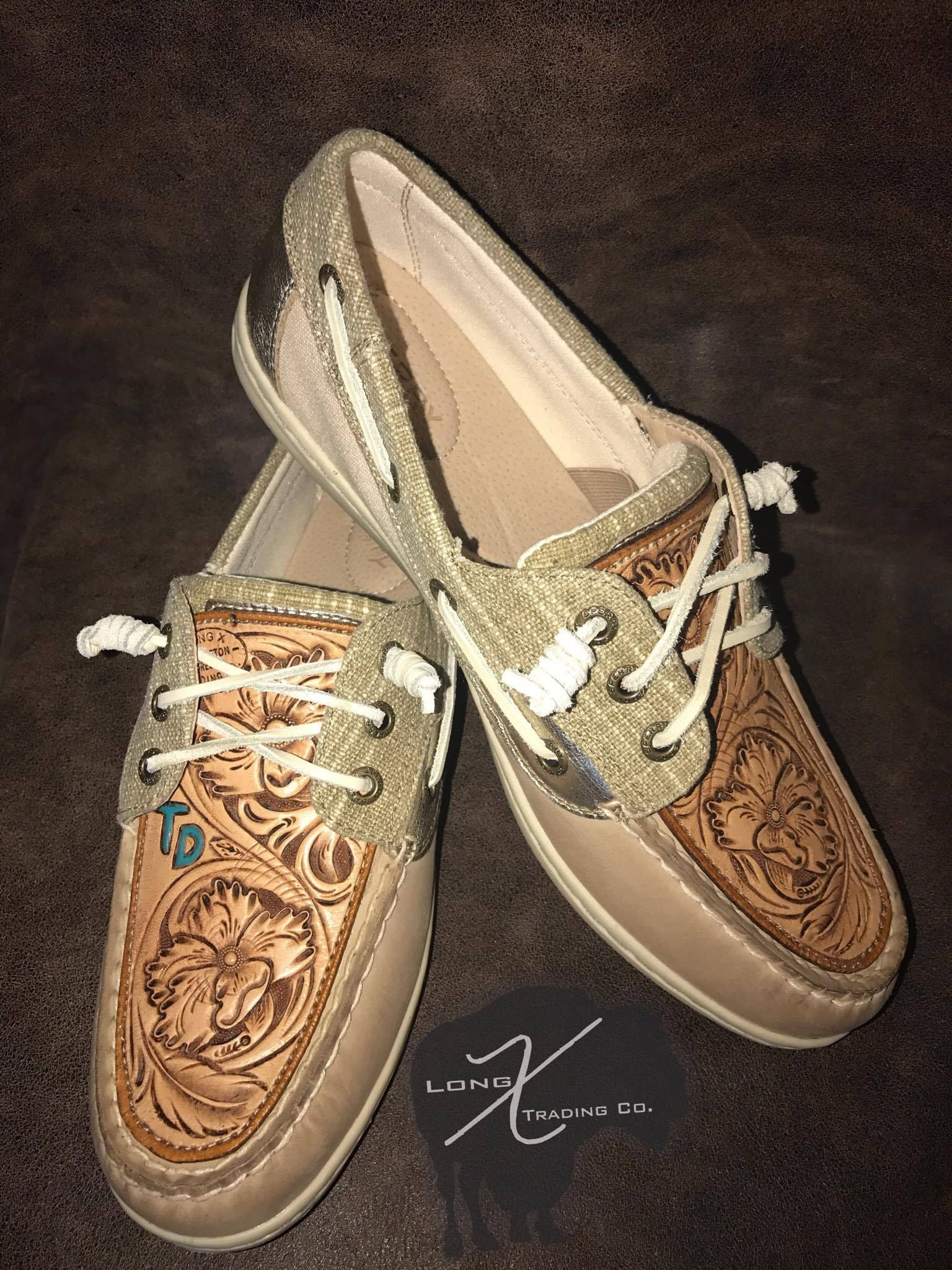 265dd45629 Sperrys with custom monogram and floral + feather tooling