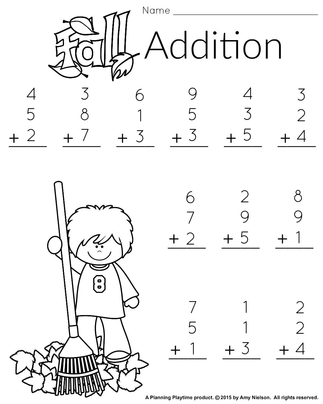 1st Grade Math and Literacy Worksheets with a Freebie! - Planning Playtime    Math addition worksheets [ 1300 x 1040 Pixel ]