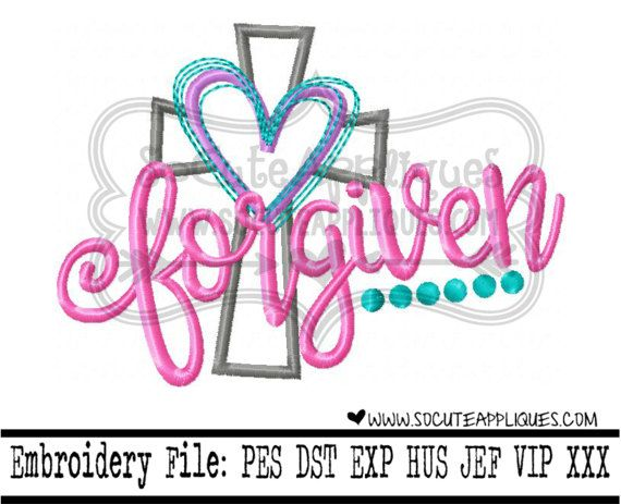 Easter Embroidery Design 4x4 5x7 6x10 Forgiven By Socuteappliques