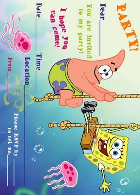 SPONGEBOB party invite free Free Printables parties