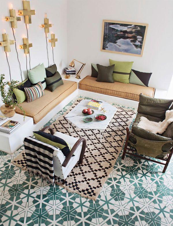 Marokkaanse woonkamer met cementtegels - Interieur en Met
