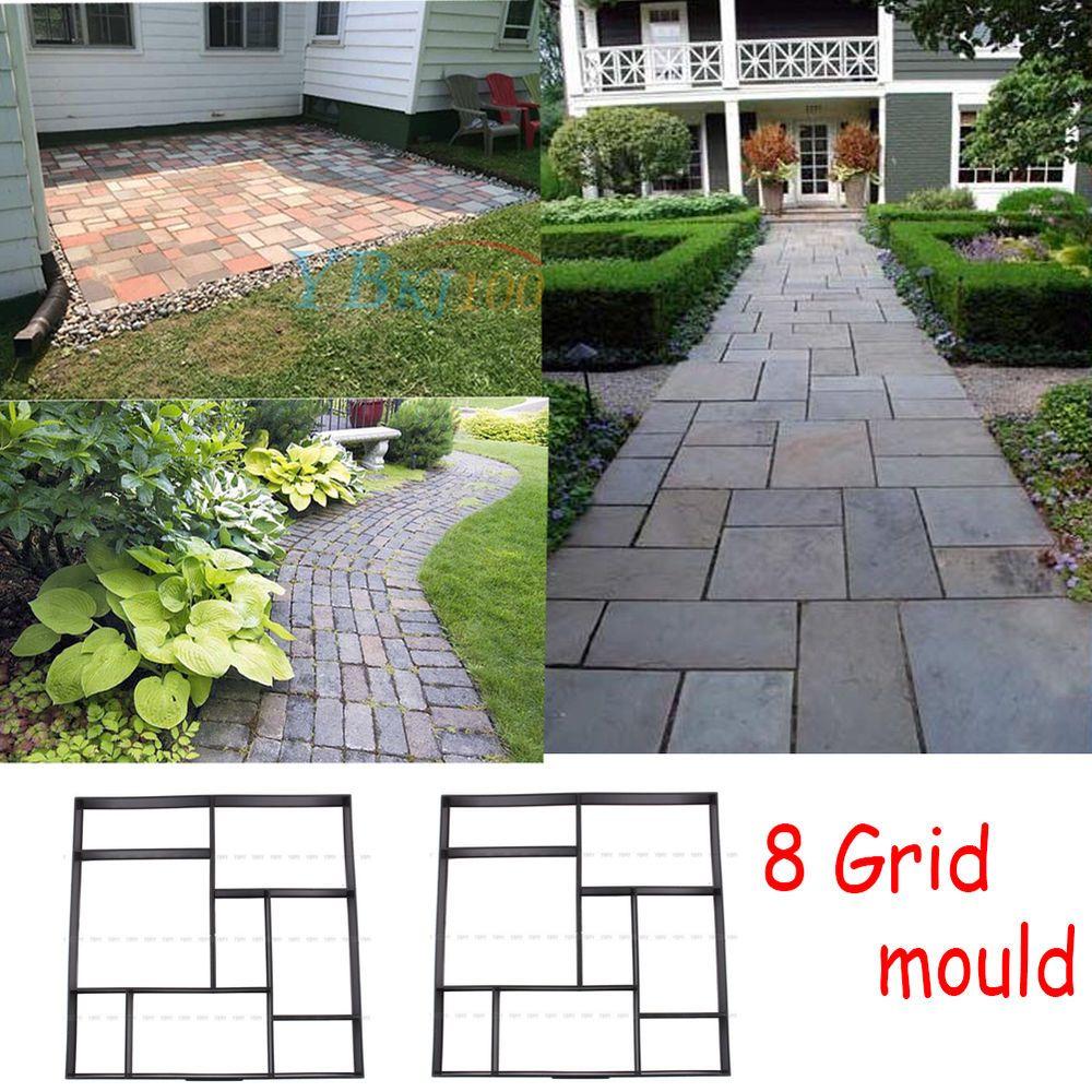 8 grid diy driveway paving brick mold concrete slabs