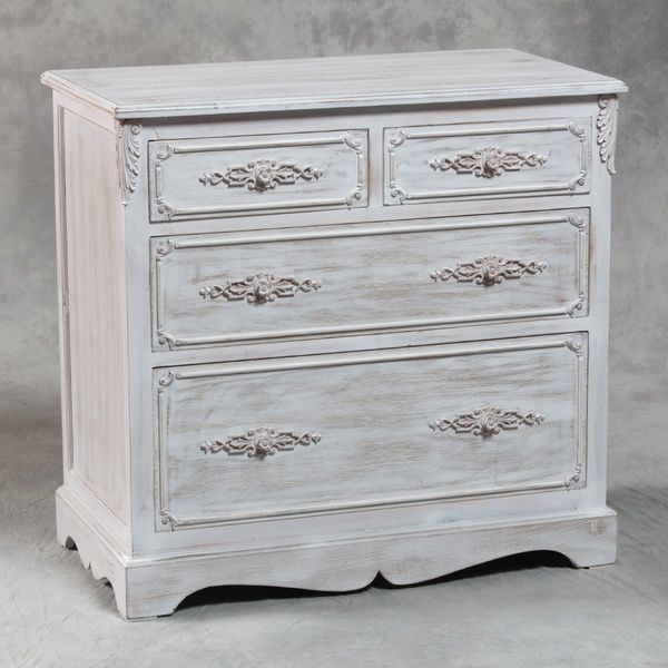 Shabby Chic Furniture Shabby Chic Distressed Chest Whitewash Painted