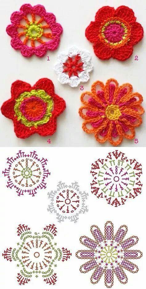 Flores crochet | flores | Pinterest | Ganchillo, Flores y Tejido