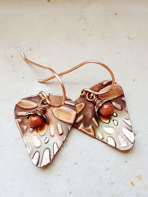 Guitar Pick Style Earrings Copper Hammered by StoneMountainJewelry, $22.00