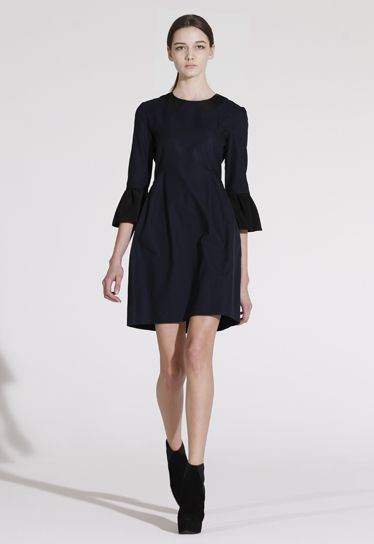 Love this gathered cuff dress from Victoria Beckham's fall collection.