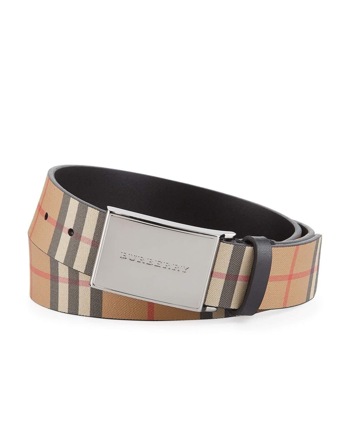 e3c922715c8e Burberry Men s Charles Check Suede Belt