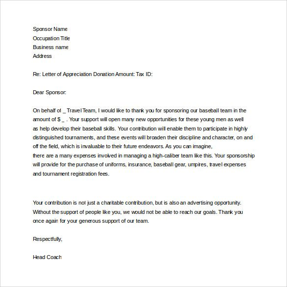 Thank You Letter to Sponsor to Download Athletic ideas