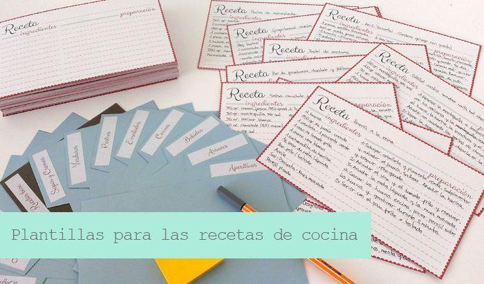 Organización en la cocina: plantillas para organizar las recetas ...