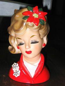 Napco Christmas lady head vase