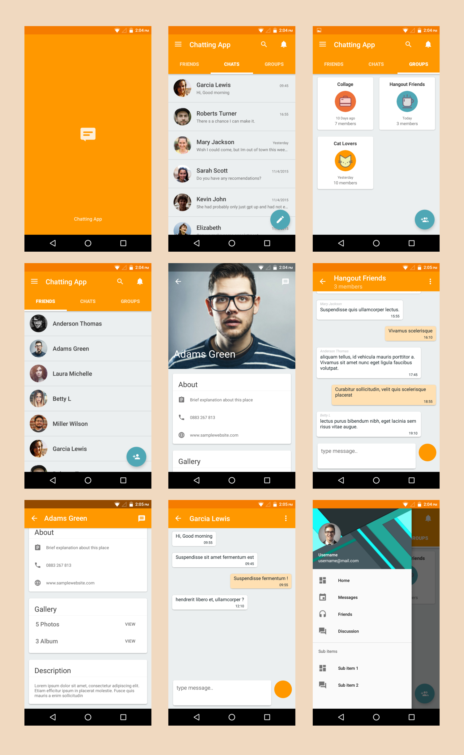 Chatting App Material Design Template on Behance