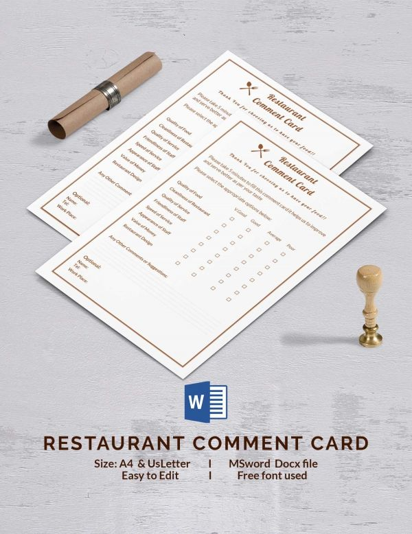 restaurant comment cards template