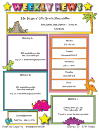 Templates for newsletters each week different students for Meet the teacher brochure template