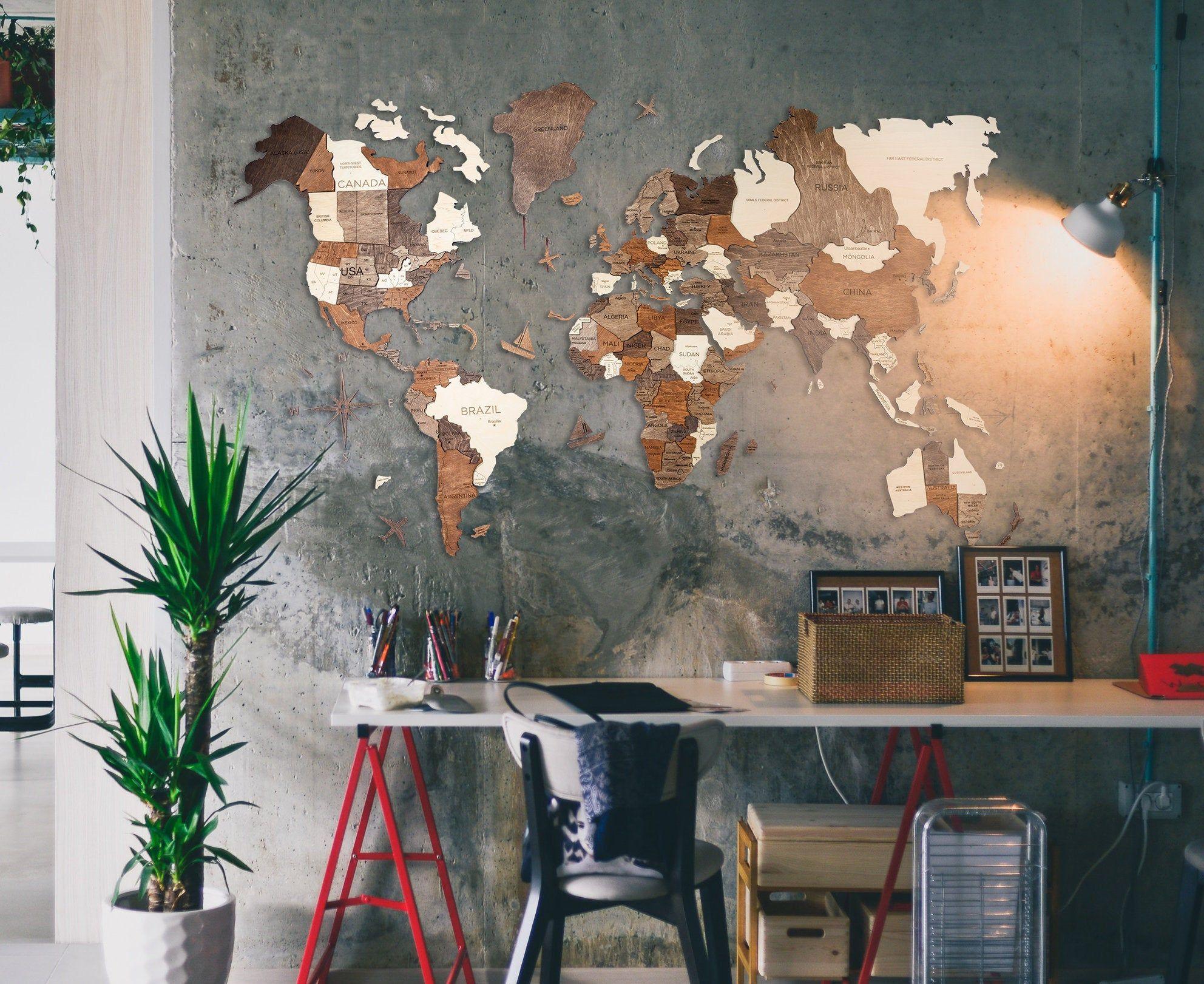 Wand Holz Karte Der Weltkarte Reise Push Pin Karte Rustikale Haus Holz Wandkunst 5 Jahrestagsgeschenk Fur Mann Freund Wand Kunst Dekor In 2020 Wandkaarten Home Decor Klok