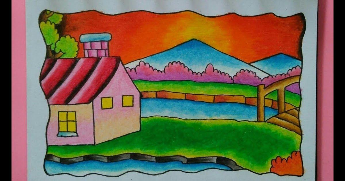 Keren 30 Pemandangan Alam Rumah Sungai Cara Menggambar Dan Mewarnai Pemandangan Rumah Sungai Dan Gunung Download Peman Di 2020 Pemandangan Sungai Lukisan Dinding