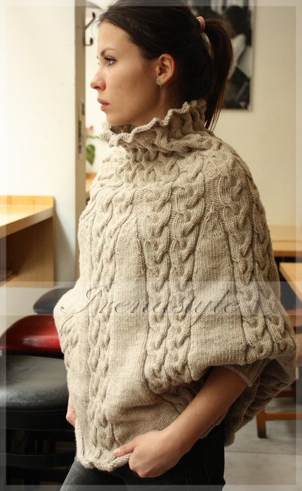 Poncho Made To Order Hand Knit Cardigan Jacket Poncho With