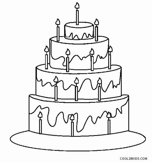 Coloring Page Birthday Cake Elegant Free Printable ...